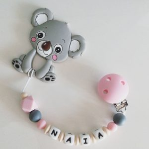Chupetero personalizado pink-beige-gray mordedor Koala de Mordisquitos