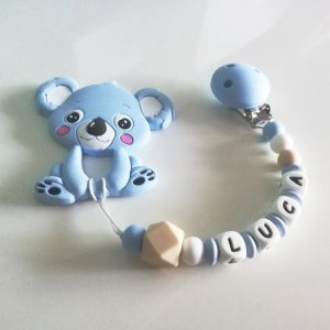 Chupetero personalizado de silicona blue con mordedor Koala de Mordisquitos