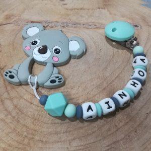 Chupetero personalizado con el nombre de tu bebé y mordedor Koala de Mordisquitos