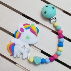 Chupetero colors con mordedor Unicornio, de Mordisquitos, alivia las encías del bebé en su época de dentición
